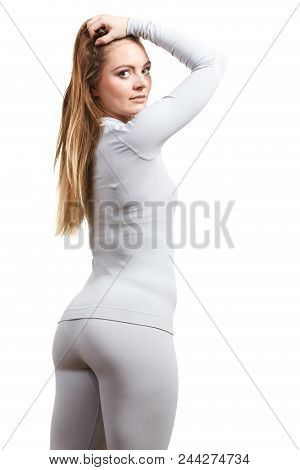 Fit Fitness Slim Woman, Sporty Girl Wearing Hot Gray Sports Thermolinen Underwear, Long Sleeves Top