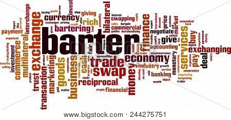 Barter Word Cloud Concept. Vector Illustration On White