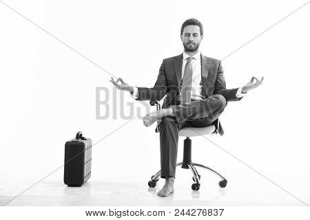 Businessman Gets Rid Of Stress And Relaxing After Hard Working Day. Man In Suit Or Businessman Sit O