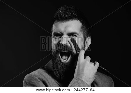 Barber Shop. Hair Style. Business And Barbershop Service Concept. Businessman With Mad Face On Dark