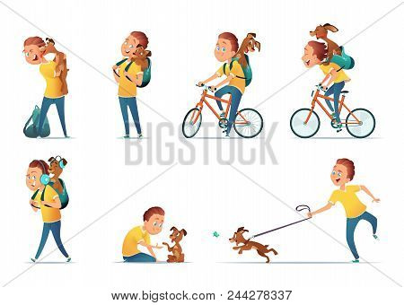 Funny Situations Of A Boy And A Dog. Kid And  Puppy In Different Comical Poses