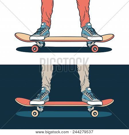 Legs In Classic Blue Sneakers Stand On A Skateboard - On A Light And Dark Background.