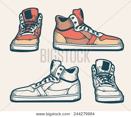 Youth Sneakers In A Hipster Style. Side View And Front View. Colored And Monochrome. Sketch Drawing.