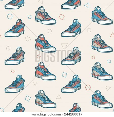 Multi-colored Sneakers Seamless Pattern In Retro Colors
