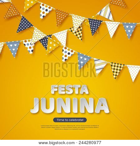 Festa Junina Holiday Design. Paper Cut Style Letters With Bunting Flag On Yellow Background. Templat