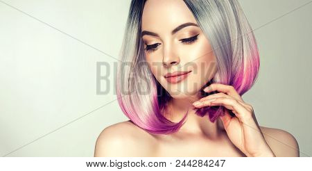 Beautiful Hair Coloring Woman. Fashion Trendy Haircut.ombre Bob Short Hairstyle. Blond Model With Sh