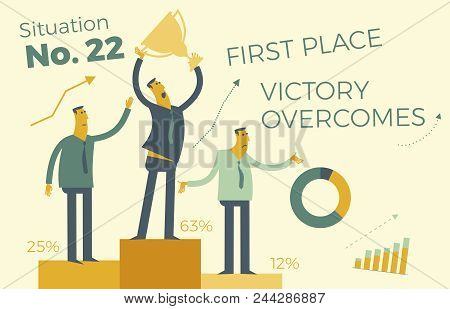 Business Infographics, Business Situations. The Winners Are On The Victory Podium. Awarding Of Winne