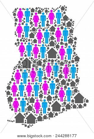 Population Ghana Map. Household Vector Collage Of Ghana Map Organized Of Randomized Human And Buildi