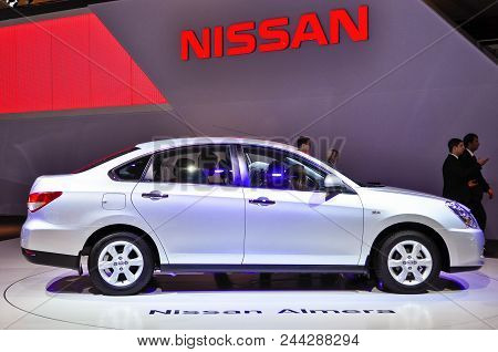Russia, Moscow, Expocentre, 29 August - 9 September 2012: Nissan Almera At  4th Moscow International