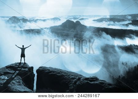 Flare, Soft Focus.greetings To Sun.  Happy Man Gesture Raised Arms. Funny Hiker With Raised Hands In