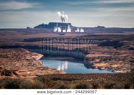Hydroelectric Power Plant In The Arizona Desert, Usa.