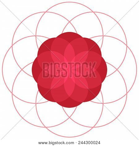 Red Abstract Geometric Flower. Vector Symbolic Ornament.