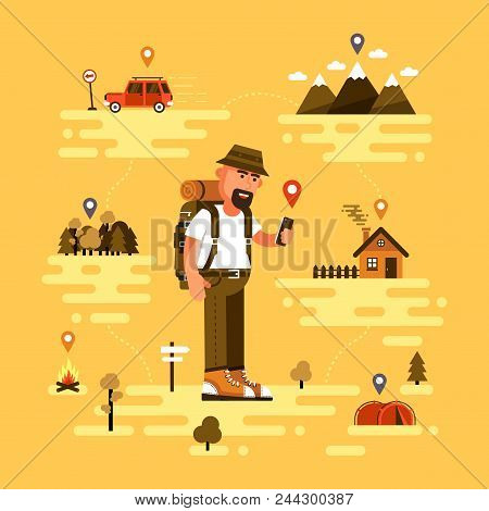 Bearded Traveling Tourist Uses Smartphone To Find Location. Icons Of Gps, Car, Mountains With Clouds