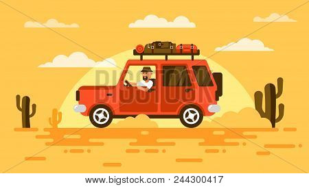 Bearded Touris, Drives  Suv Car In Desert, Surrounded By Cactus, On Sunset. On Roof Carries His Lugg