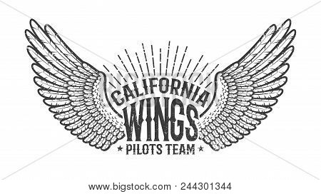 Retro Emblem Of The Club Of Pilots With Outstretched Wings. Monochrome On A White Background. Worn T