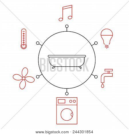 Smart Bathroomr, Smart Home, Iot Flat Vector Illustration. Concept Of The Internet Of Things, Elemen