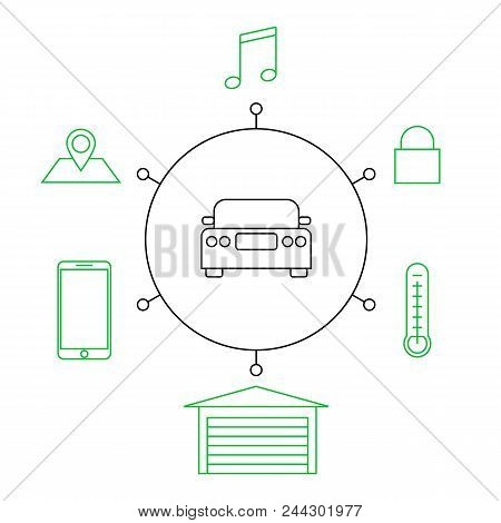 Smart Car, Smart Home, Iot Flat Vector Illustration. Concept Of The Internet Of Things, Elements Of