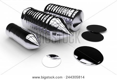 Silicon ingot (solar grade) isolated on white. 3D rendering poster