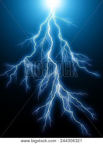 Creative abstract 3D render illustration of the blue lightning arc electric discharge hit strike light effect on dark black background