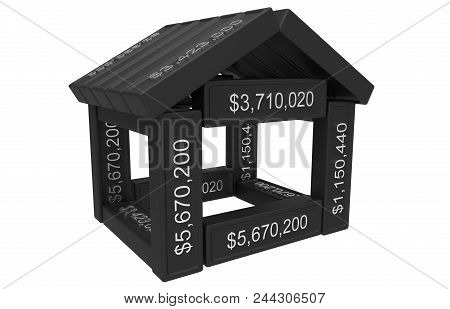 Stylized House Made Of Spreadsheet 3d Elements Isolated On White. 3d Rendering