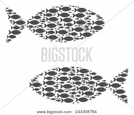 Fish Pair Vector Composition Composed From Randomized Fish Icons In Various Sizes. Fish Icons Are Or