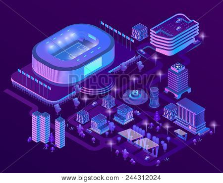 Vector 3d Isometric Megapolis With Stadium. Sport Arena In City In Violet Colors. Collection Of Skys