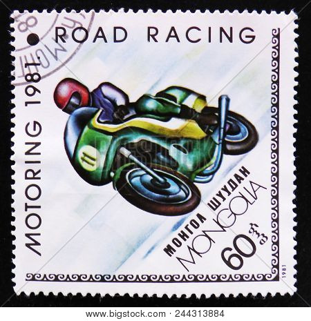 Moscow, Russia - April 2, 2017: A Post Stamp Printed In Mongolia Shows Road Racing, Motoring Serie,