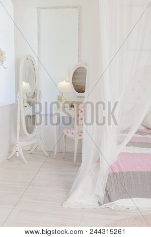 Bright, Clean Stylish Interior Bedroom And Living Room With A Large Panoramic Window. Beautiful Rich