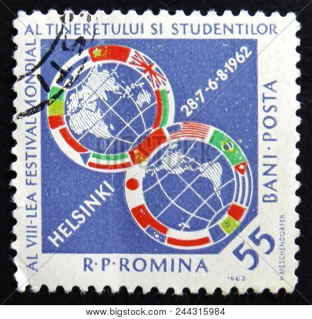 Moscow, Russia - April 2, 2017: A Post Stamp Printed In Romania Shows 8Th Youth Festival Of Words St