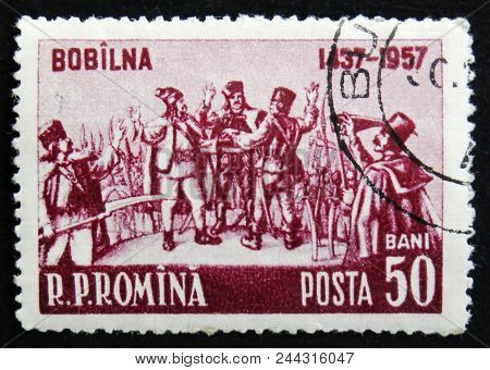 Moscow, Russia - April 2, 2017: A Post Stamp Printed In Romania Shows Oath Of Belyov City In 1437, C