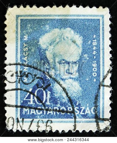 Moscow, Russia - April 2, 2017: A Post Stamp Printed In Hungary Shows Portrait Of Mihaly Munkacsy, H