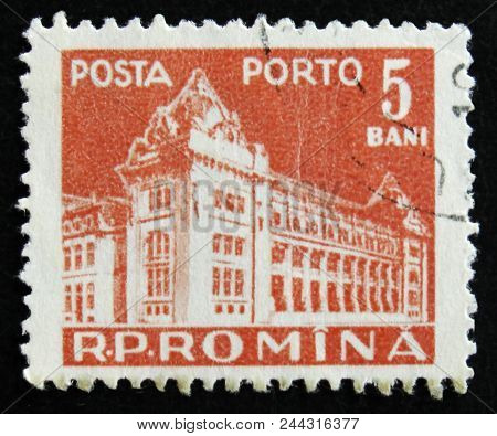 Moscow, Russia - April 2, 2017: A Post Stamp Printed In Romania Shows Central Post Office Building,