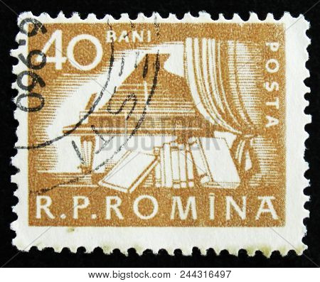 Moscow, Russia - April 2, 2017: A Post Stamp Printed In Romania Shows Piano In Hall And Books, Circa
