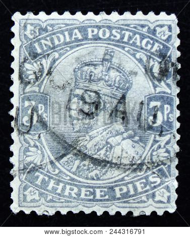 Moscow, Russia - April 2, 2017: A Post Stamp Printed In India Shows King George V, Circa 1920S