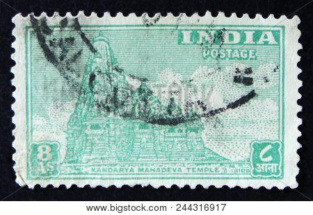 Moscow, Russia - April 2, 2017: A Post Stamp Printed In India Shows Kandarya Mahadeva Temple, Circa