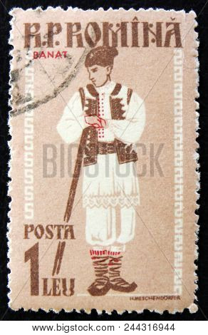 Moscow, Russia - April 2, 2017: A Post Stamp Printed In Romania Shows Regional Costume, Banat, Circa
