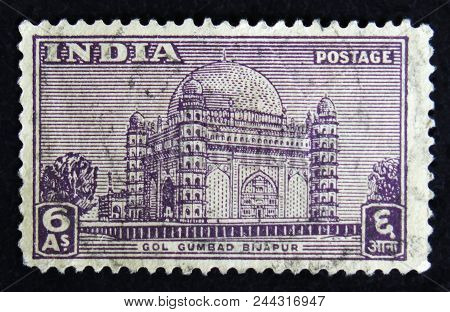 Moscow, Russia - April 2, 2017: A Post Stamp Printed In India Shows Gol Gumbad Bijapur - The Mausole