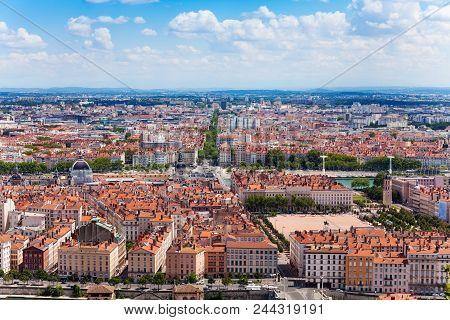 Aerial View Of Lyon's Peninsula At Sunny Day