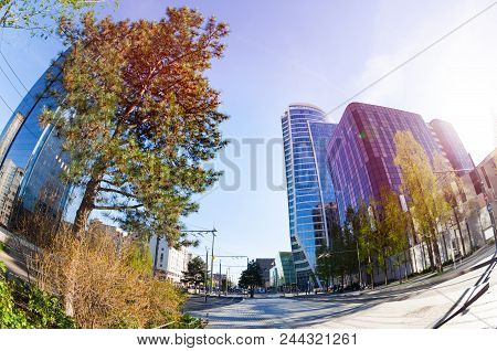 Fish-eye Picture Of La Part-dieu District With Its Towers At Sunny Day, Lyon, France