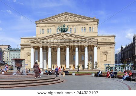 Moscow, Russia - June 03, 2018: Theatre Square On Bolshoi Theatre Background On A Sunny Summer Morni