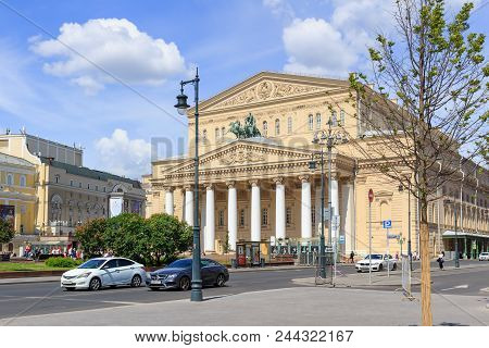 Moscow, Russia - June 03, 2018: Facade Of Bolshoi Theatre And Theatre Square On A Sunny Summer Morni