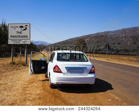 White Car On Scenic Panorama Route, Mpumalanga Province, South Africa