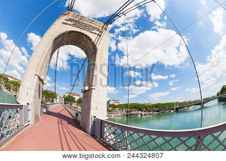 Lyon Cityscape From Passerelle Du College Footbridge Over The Rhone River, France