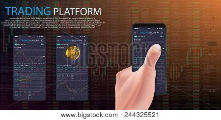 Buy Bitcoin. Online Crypto Payment Concept. Man Hand Holding Smartphone With Golden Coin, Button Buy