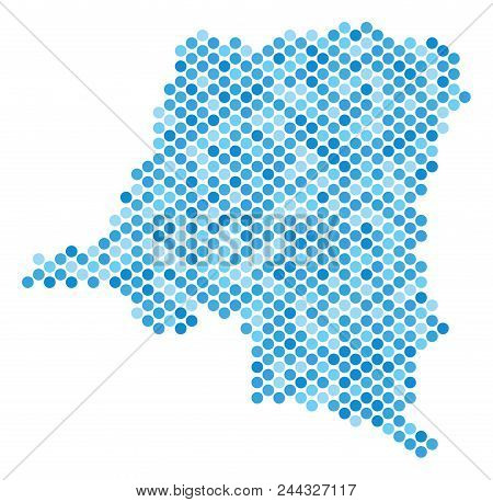 Blue Round Spot Democratic Republic Of The Congo Map. Vector Geographic Map In Blue Color Hues On A