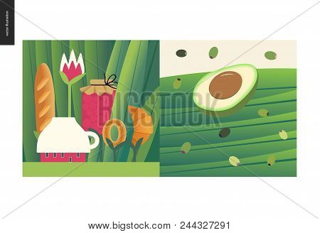 Simple Things - Meal - Flat Cartoon Vector Illustration Of Tiny Cup House And Tee Meal Among Huge Gr