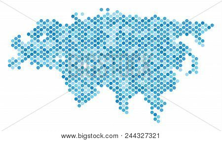 Blue pixelated Eurasia map. Vector geographic map in blue color shades on a white background. Vector composition of Eurasia map done of round spot array. poster