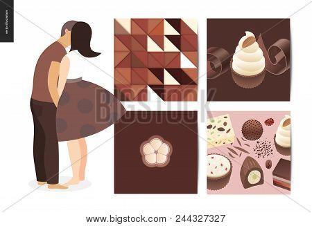 Kissing Scene - Flat Cartoon Vector Illustration Of Young Couple Kissing, Chocolate, Romantic Scene,