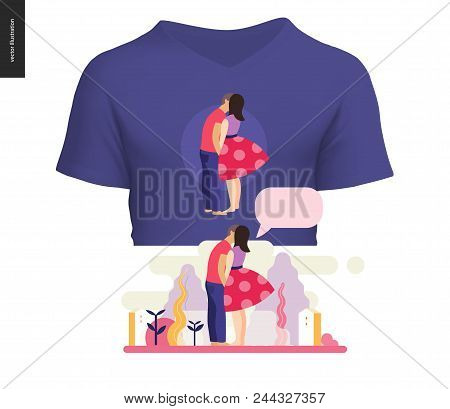 Kissing Scene - Flat Cartoon Vector Illustration Of Young Couple, Boyfriend And Girlfriend, Kissing,