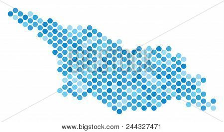 Blue Dotted Georgia Map. Vector Geographic Map In Blue Color Tints On A White Background. Vector Mos